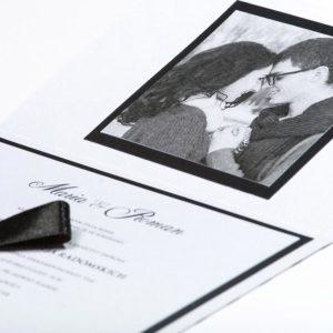 Proste czarno białe zaproszenia ślubne - Black And White