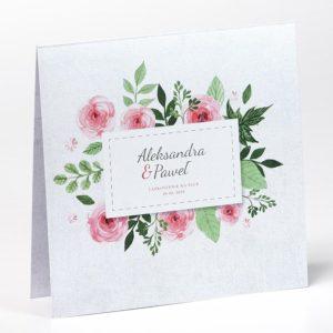 Floral - proste zaproszenia ślubne kwiatowe