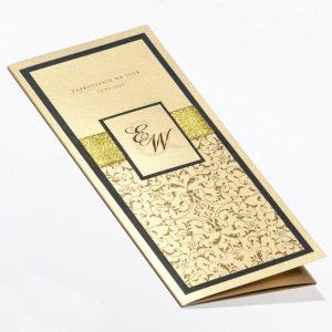 Złote zaproszenia ślubne - Glamour