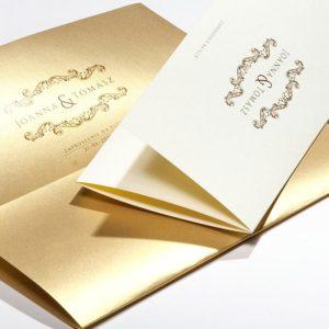 Złote zaproszenia ślubne - Retro Style